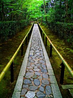 Stone path with bamboo rails